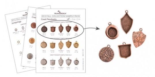 Crest Pendant Sample Pack - in copper