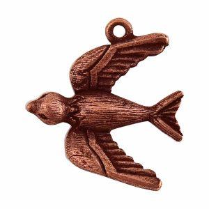 Bird Charm Antique Copper