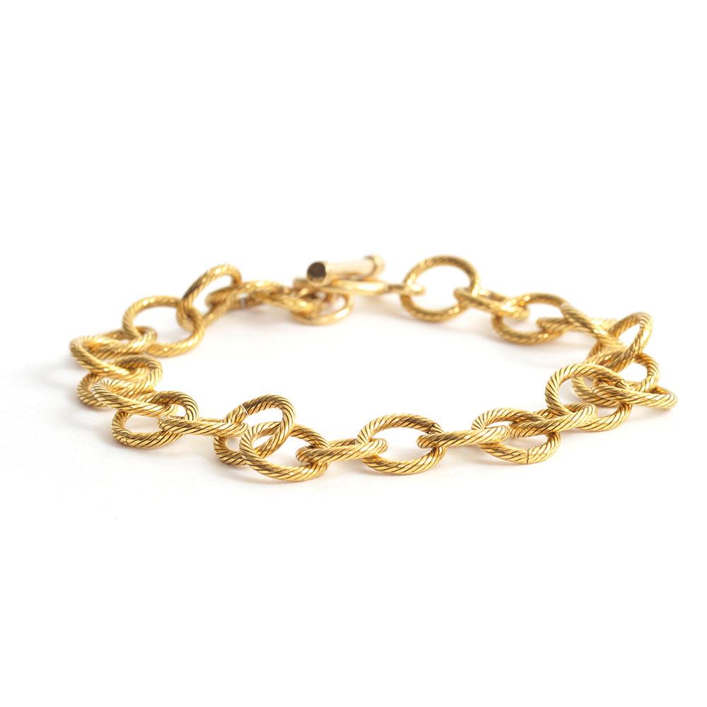 Charm Bracelet Loop Chain Antique Gold