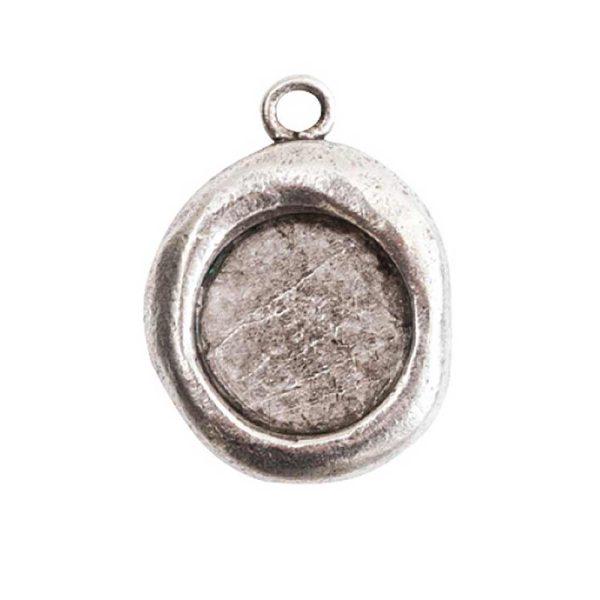 Crest Pendant Seal Antique Silver