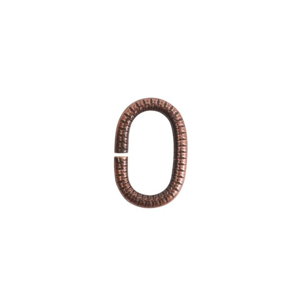 Jumpring 9mm Textured Oval Antique Copper