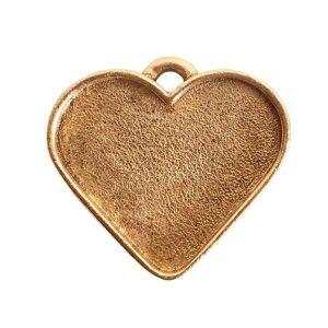 Large Pendant Heart Antique Gold