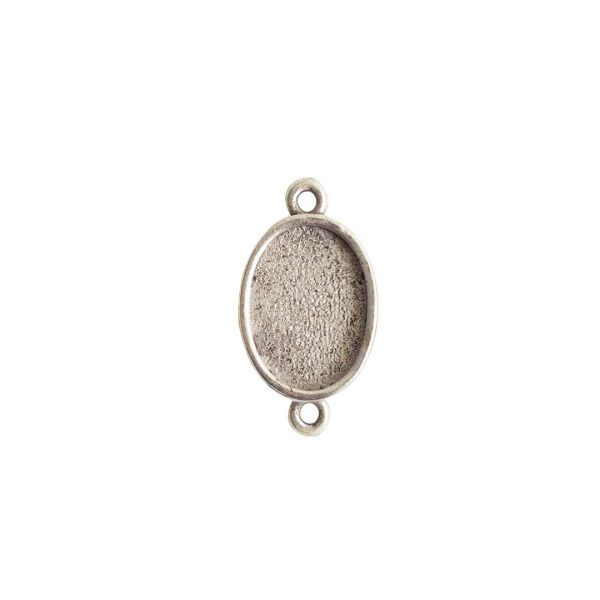 Mini Link Double Loop Oval Antique Silver
