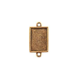 Mini Link Double Loop Rectangle Antique Gold