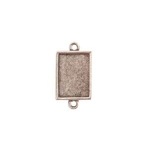 Mini Link Double Loop Rectangle Antique Silver