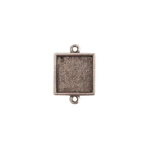Mini Link Double Loop Square Antique Silver