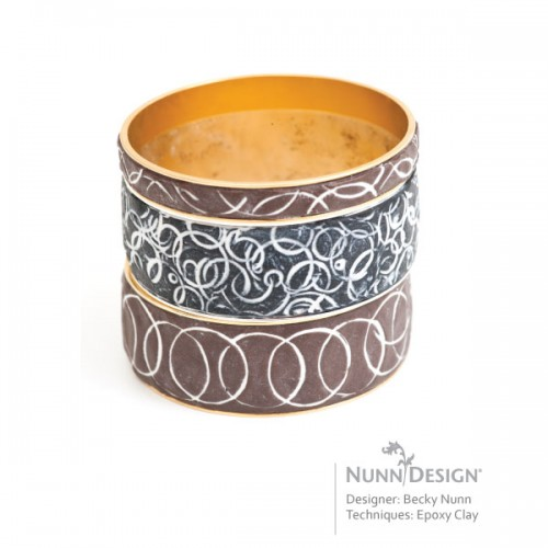 Nunn Design Channel Bangles with Epoxy Clay