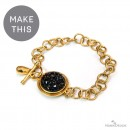 Black Chaton Gold Bezel Bracelet