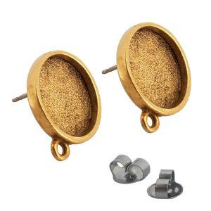 Earring Mini Circle Antique Gold 1