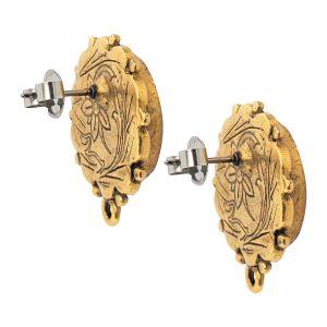 Earring Ornate Mini Circle Antique Gold