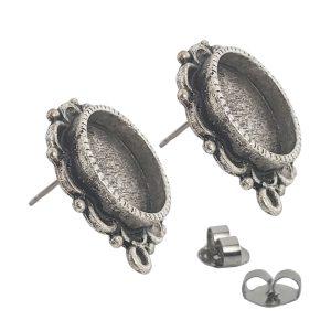 Earring Ornate Mini Circle Antique Silver