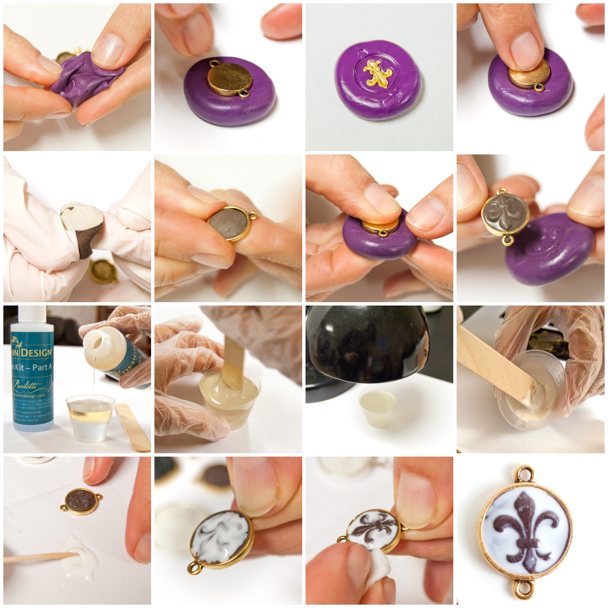 Make These Sculpted Relief Epoxy Clay and Resin Pendants