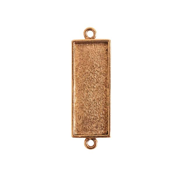 Mini Link Double Loop Long RectangleAntique Gold
