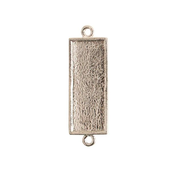 Mini Link Double Loop Long RectangleSterling Silver Plate