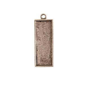 Mini Link Single Long RectangleAntique Silver