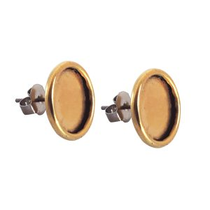 Earring Post Small Circle Antique Gold Nickel Free