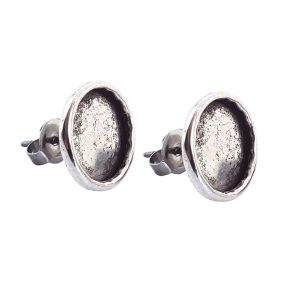 Earring Post Small Circle Antique Silver Nickel Free
