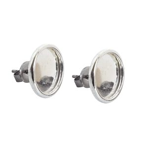 Earring Post Small Circle Sterling Silver Plate Nickel Free