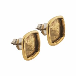 Earring Post Small Square - Antique Gold