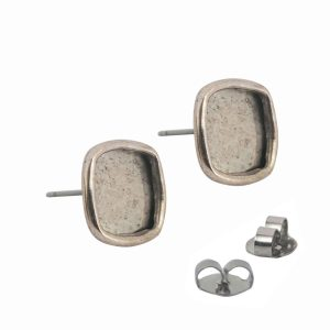 Earring Post Small Square - Antique Silver