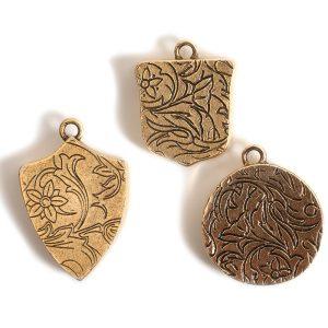 Buy & Try Findings Crest PendantAntique Gold