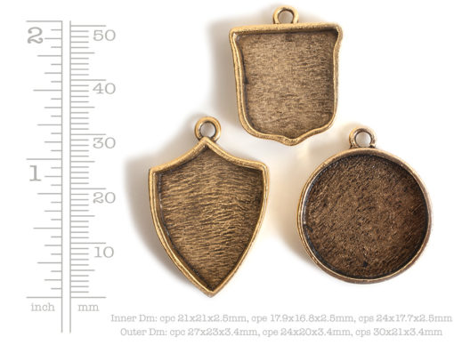 Buy & Try Findings Crest PendantAntique Gold