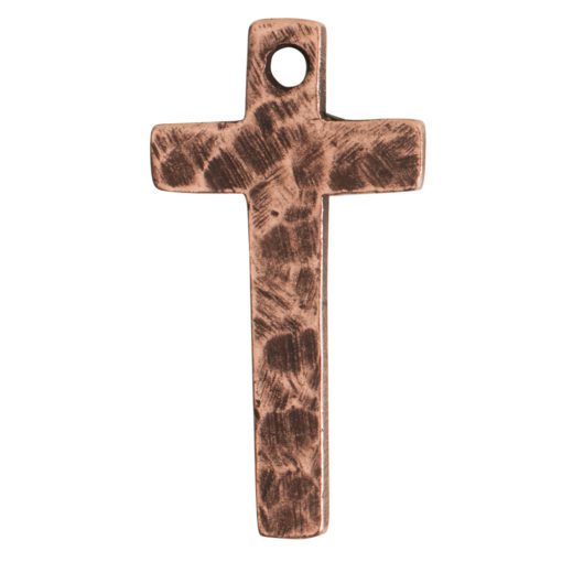 Charm Narrow Hammered CrossAntique Copper