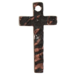 Charm Narrow Hammered CrossSterling Silver Plate