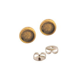 Earring Post Itsy CircleAntique Gold