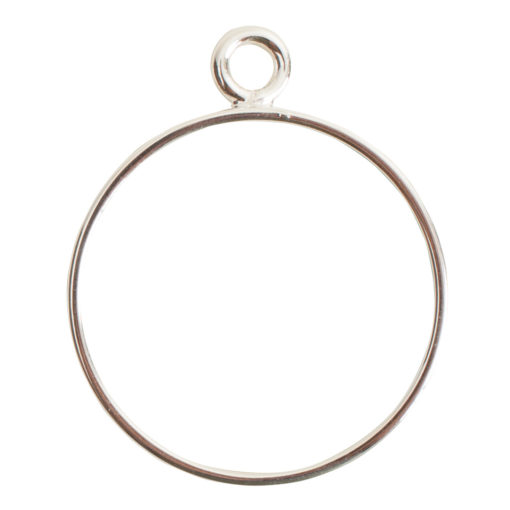 Open Frame Large Circle Single LoopSterling Silver Plate
