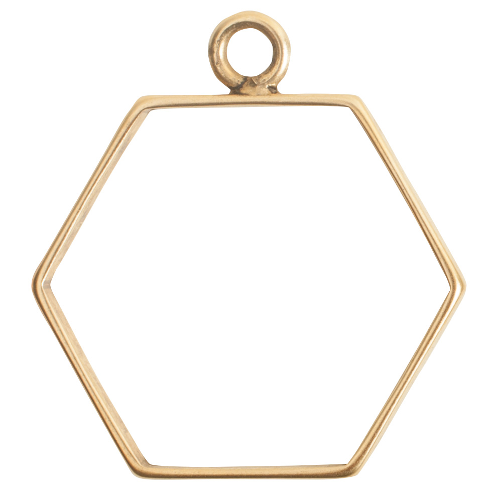 Open Frame Large Hexagon Single LoopAntique Gold - Nunn Design