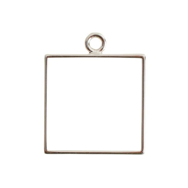 Open Frame Large Square Single LoopSterling Silver Plate