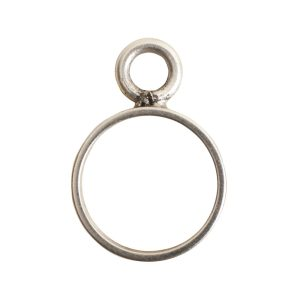 Open Frame Mini Circle Single LoopAntique Silver