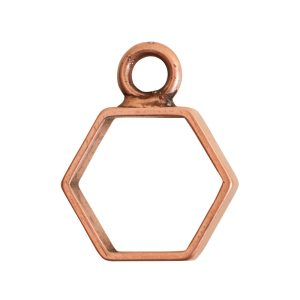 Open Frame Mini Hexagon Single LoopAntique Copper