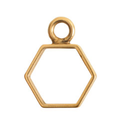 Open Frame Mini Hexagon Single LoopAntique Gold