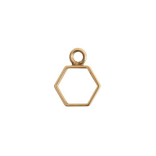 Open Frame Mini Hexagon Single LoopAntique Gold