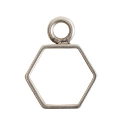 Open Frame Mini Hexagon Single LoopAntique Silver