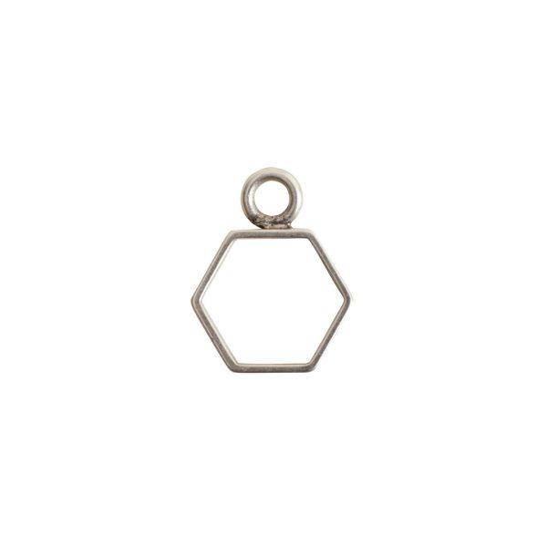 Open Frame Mini Hexagon Single LoopAntique Silver