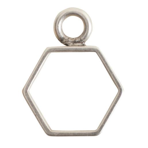 Open Frame Mini Hexagon Single Loop<br>Antique Silver 1