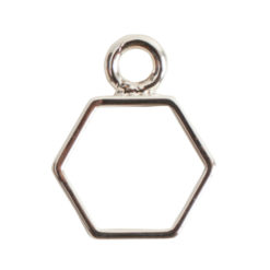Open Frame Mini Hexagon Single LoopSterling Silver Plate