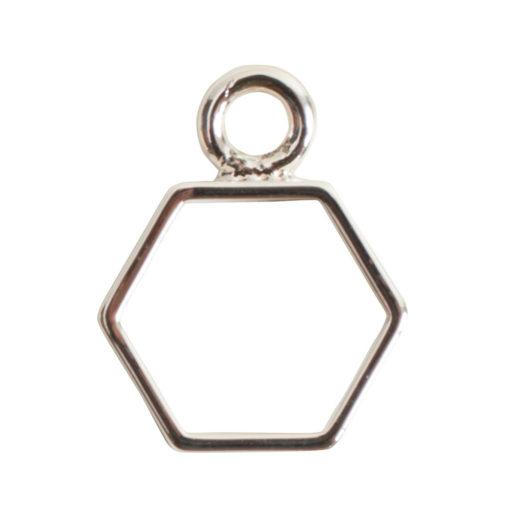Open Frame Mini Hexagon Single LoopSterling Silver Plate