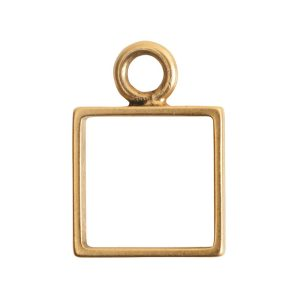 Open Frame Mini Square Single LoopAntique Gold