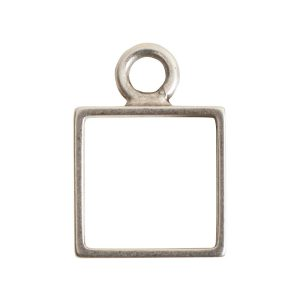 Open Frame Mini Square Single LoopAntique Silver