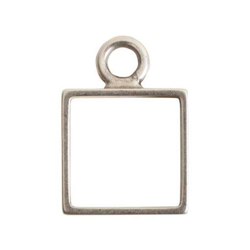 Open Frame Mini Square Single LoopAntique Silver