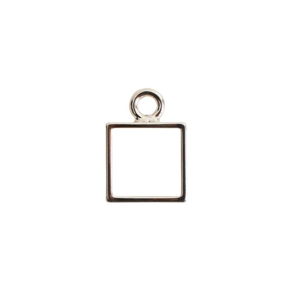Open Frame Mini Square Single LoopSterling Silver Plate