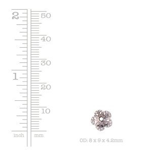 Beadcap 8mm Etched Daisy <br>Antique Silver