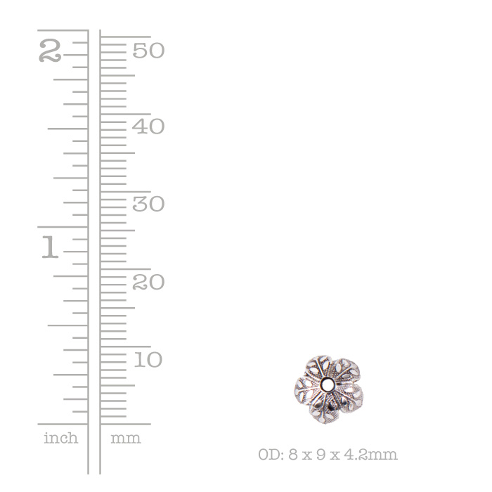 Beadcap 8mm Etched Daisy Antique Silver