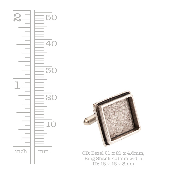 Cuff Links Traditional Sq Antique Silver