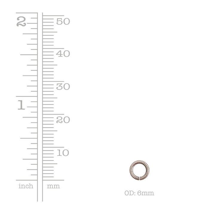Jumpring 6mm Textured Circle Sterling Silver Plate