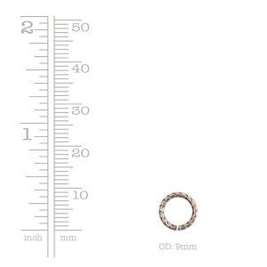 Jumpring 9mm Textured Circle <br>Antique Copper